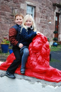 Ayton Primary School's two youngers pupils enjoyig the lions